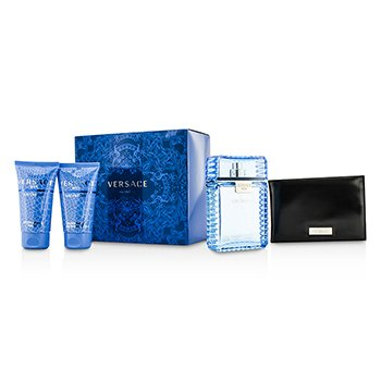 Versace Eau Fraiche Coffret: Eau De Toilette Spray 100ml/3.4oz + B�lsamo para Despu�s de Afeitar 50ml/1.7oz + Gel de Ducha & Ba�o 50ml/1.7oz + Black Wallet  4pcs
