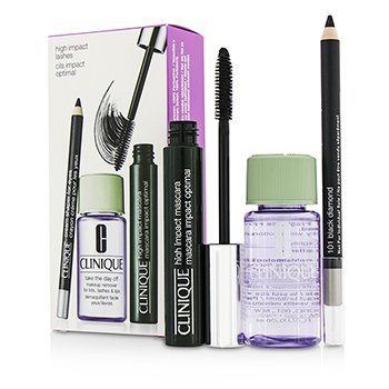Clinique High Impact Lash Coffret: High Impact Mascara + Cream Shaper For Eyes + Take The Day Off Makeup Remover  3pcs