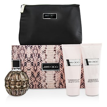 Jimmy Choo Jimmy Choo Coffret: Eau De Parfum Spray 100ml/3.3oz + Loci�n Corporal 100ml/3.3oz + Gel de Ducha 100ml/3.3oz +Bolsa  3pcs+Pouch