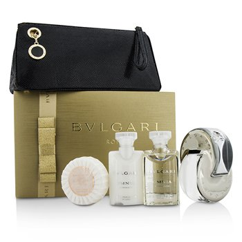 BvlgariOmnia Crystalline Coffret: Eau De Toilette Spray 65ml/2.2oz + Body Lotion 40ml/1.35oz + Shower Gel 40ml/1.35oz + Soap 50g/1.76oz + Pouch 4pcs+1pouch