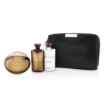 Bvlgari Aqva Amara Coffret: Eau De Toilette Spray 100ml/3.4oz + B�lsamo para Despu�s de Afeitar 75ml/2.5oz + Gel de Ducha 75ml/2.5oz + Pouch  3pcs+1pouch