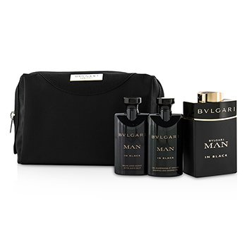 BvlgariIn Black Coffret: Eau De Parfum Spray 100ml/3.4oz + After Shave Balm 75ml/2.5oz + Shower Gel 75ml/2.5oz + Pouch 3pcs+1pouch