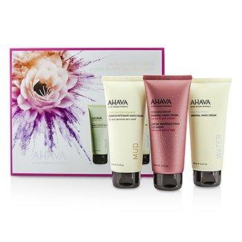 Ahava Hand Cream Trio: Dermud Intensive Hand Cream 100ml+Mineral Hand Cream (Cactus & Pink Pepper) 100ml+Mineral Hand Cream 100ml  3pcs