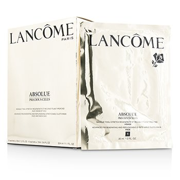 Lancome Absolue Precious Cells Advanced Regenerating & Replenishing Stretchable Cloth Mask Face & Neck Duo 6x2sachets