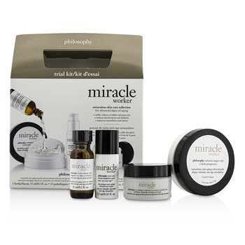 Philosophy Miracle Worker Miraculous Anti-Aging Skin Care Collection Trial Kit: Retinoid Solution + Pads + Mositurizer + Eye Repair 4pcs