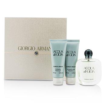 Giorgio ArmaniAcqua Di Gioia Coffret: Eau De Parfum Spray 50ml/1.7oz + Body Lotion 75ml/2.5oz + Shower Gel 75ml/2.5oz (Pink Box) 3pcs