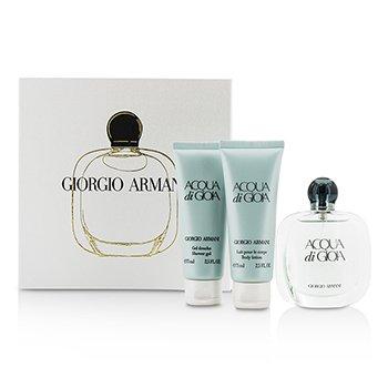 Giorgio ArmaniAcqua Di Gioia Coffret: Eau De Parfum Spray 50ml/1.7oz + Body Lotion 75ml/2.5oz + Shower Gel 75ml/2.5oz 3pcs