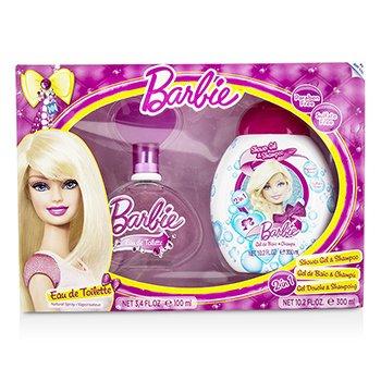 Air Val International Barbie Coffret: Eau De Toilette Spray 100ml/3.4oz + Shower Gel & Shampoo 300ml