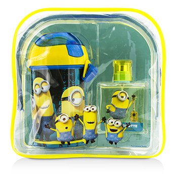 Air Val International Minions Coffret: Eau De Toilette Spray 50ml/1.7oz + Water Bottle + Backpack 2p