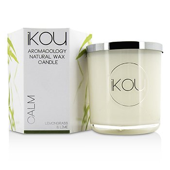 iKOU Eco-Luxury Aromacology Natural Wax Candle Glass - Calm (Lemongrass & Lime) (4x4) inch