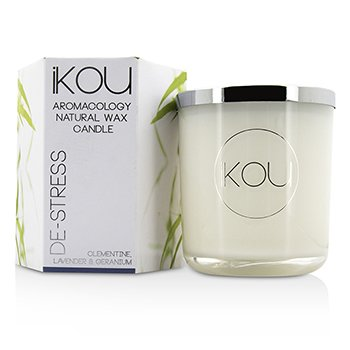 iKOU Eco-Luxury Aromacology Natural Wax Candle Glass - De-Stress (Lavender & Geranium) (4x4) inch