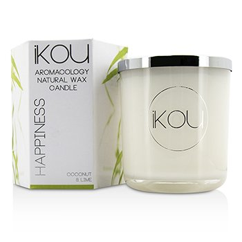 iKOU Eco-Luxury Aromacology Natural Wax Candle Glass - Happiness (Coconut & Lime) (4x4) inch
