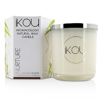 iKOU Eco-Luxury Aromacology Natural Wax Candle Glass - Nurture (Italian Orange Cardamom & Vanilla) (4x4) inch
