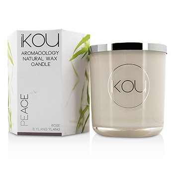 iKOU Eco-Luxury Aromacology Natural Wax Candle Glass - Peace (Rose & Ylang Ylang) (4x4) inch
