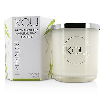 iKOU Eco-Luxury Aromacology Natural Wax Candle Glass - Zen (Green Tea & Cherry Blossom) (4x4) inch
