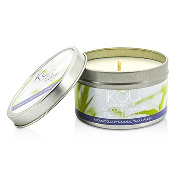 iKOU Eco-Luxury Aromacology Natural Wax Candle Tin - De-Stress (Lavender & Geranium) 230g/8oz