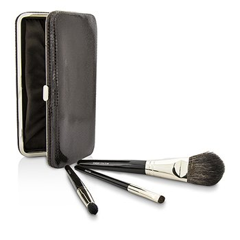 Laura Mercier Travel Brush Kit: 1x Cheek Colour Brush  1x Smudge Brush  1x Eye Crease Brush  1x Case (Unboxed) 3pcs+1case