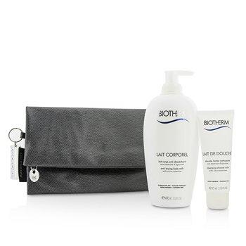 BiothermBody Care X Mandarina Duck Coffret: Anti-Drying Body Milk 400ml + Cleansing Shower Milk 75ml + Clutch Bag 2pcs+1bag