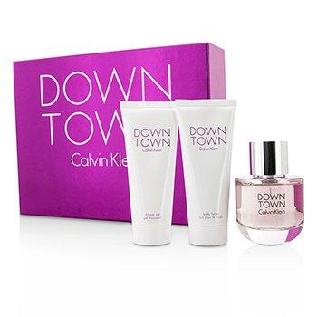 Calvin Klein Downtown Coffret: EDP Spray 90ml/3oz + Body Lotion 100ml/3.4oz + Shower Gel 100ml/3.4oz 3pcs