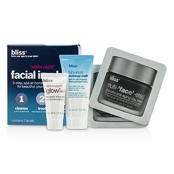Bliss 'Night Night' Facial In A Box: Makeup melt gel-to-oil Cleanser 20ml + Clay Mask 2x4g + Triple Oxygen Moisture Cream 5ml  4pcs