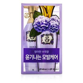 Ryo Shine & Moisture Shampoo Set: 1x Shampoo 400ml + 1x Shampoo 180ml 2pcs