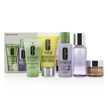 Clinique Daily Essentials Set (Dry Combination): All About Eyes 15ml + Liquid Soap 30ml + MakeUp Remover 50ml + Clarifying Lotion 2 60ml + DDML+ 50ml  5pcs