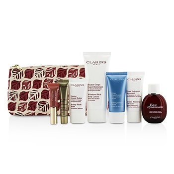 Clarins Trousse Feed Coffret: Eau Dynamisante 30ml/1oz + Cleanser 30ml/0.8oz + Balm 15ml/0.5oz + Cream 30ml/1oz + Shaping Lift 10ml/0.3oz + Lip Perfector 5ml/0.15oz + Body Lotion 100ml/3.2oz + Bag  7pcs+1bag