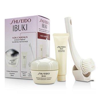 Shiseido IBUKI Set: Refining Moisturizer Enriched 50ml/1.7oz + Gentle Cleanser 30ml/1oz + Cleansing Massage Brush  3pcs