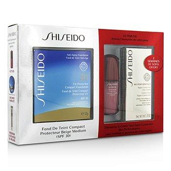 Shiseido UV Protective Powder Coffert: 1xUltimune Concentrate, 1xBio Performance EyeCream, 1x Compact Foundation - #SP60  3pcs