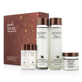 Jigott Snail Moisture Skin Care Set: Moisture Skin 150ml + Moisture Lotion 150ml + Active Emulsion Cream 50ml…… 5pcs