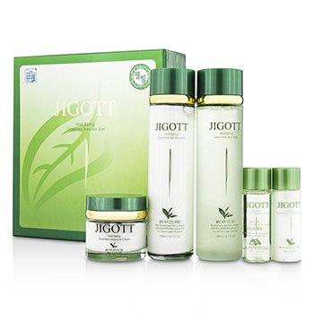 Jigott Well-Being Greentea Skin Care Set: Skin Toner 150ml + Skin Emulsion 150ml + Moisture Cream 50g…… 5pcs