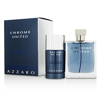 AzzaroChrome United Coffret: Eau De Toilette Spray 100ml/3.4oz + Deodorant Stick 75ml/2.1oz 2pcs
