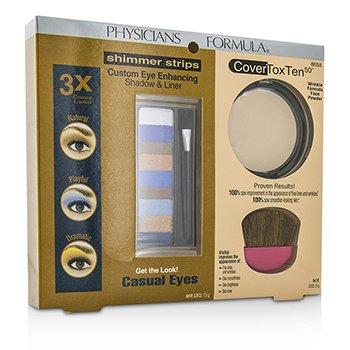 Physicians FormulaMakeup Set 8658: 1x Shimmer Strips Eye Enhancing Shadow, 1x CoverToxTen50 Face Powder, 1x Applicator 3pcs