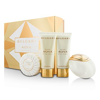 BvlgariAqva Divina Coffret: Eau De Toilette Spray 65ml/2.2oz + Body Lotion 100ml/3.4oz + Shower Gel 100ml/3.4oz + Soap 150g/5oz 4pcs