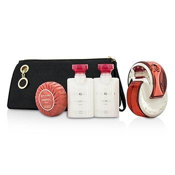 Bvlgari Omnia Coral Coffret: Eau De Toilette Spray 65ml/2.2oz + Body Lotion 40ml/1.3oz + Shower gel 40ml/1.3oz+Soap 50g/1.7oz + Pouch  4pcs+pouch