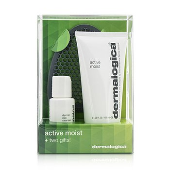 DermalogicaActive Moist Limited Edition Set: Active Moist 100ml + Dermal Clay Cleanser 30ml + Facial Cleansing Mitt 3pcs