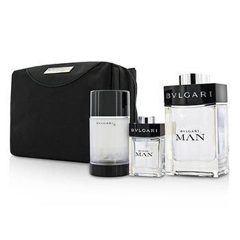 Bvlgari Man Coffret: EDT Spray 100ml/3.4oz + Travel Spray 15ml/0.5oz + Deodorant Stick 75ml/2.7oz + Travel Pouch 3pcs+pouch  men