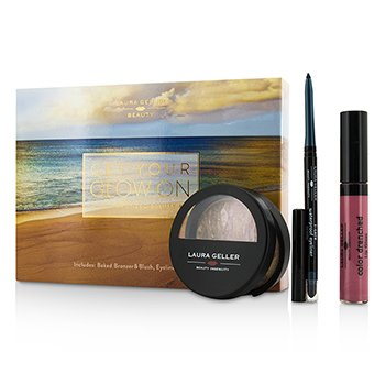 Laura Geller Get Your Glow On (A Full Bronzed Beauty Kit): 1x Blush n Glow 1x I Care Waterproof Eyeliner 1x Color Drenched Lip Gloss 3pcs