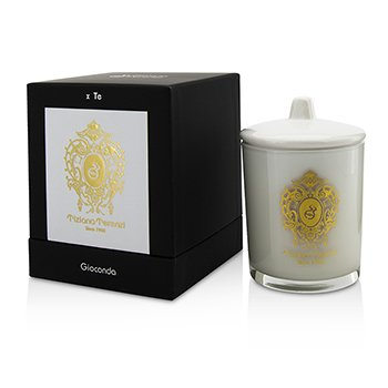 Image of Tiziana Terenzi Glass Candle with Gold Decoration & Wooden Wick - Spicy Snow (White Glass) 170g/6oz