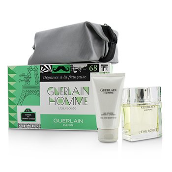 GuerlainHomme L'Eau Boisee Coffert: Eau De Toilette Spray 80ml/2.7oz + Hair and Body Wash 75ml/2.5oz + pouch 3pcs+pouch