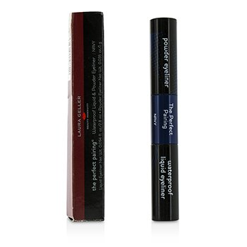 Laura Geller The Perfect Pairing Waterproof Liquid & Powder Eyeliner – # Navy (Box Slightly Damaged) 3.8g/0.129oz