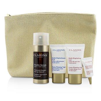 ClarinsExpert Age Control Set: Double Serum 30ml + Extra Firming Day Cream 15ml + Night Cream 15ml + Eye Serum 3ml + Bag 4pcs+1bag