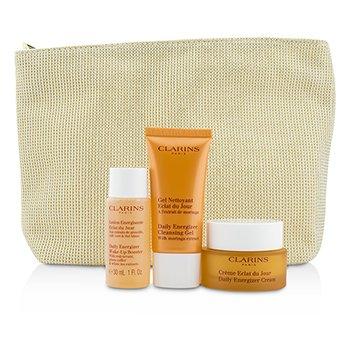 ClarinsRadiance & Moisture Set: Daily Energizer Cream 30ml + Cleansing Gel 30ml + Booster 30ml + Bag 3pcs+1bag
