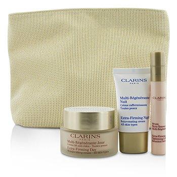 ClarinsSuper Skin Firmers Set: Extra-Firming Day Cream 50ml + Botanical Serum 10ml + Night Cream 15ml + Bag 3pcs+1bag