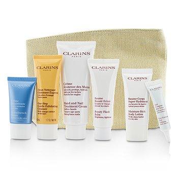 ClarinsGorgeous Getaways Set:: Flash Balm 50ml + Hand Cream 100ml + Cleanser 50ml + Eye Gel 10ml + Cream 15ml + Body Lotion 30ml + Bag 6pcs+1bag
