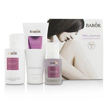 Babor SPA Relaxing Lavender Mint Coffret: Shower Oil & Bath 200ml + Peeling Cream 200ml + Sleep Well Spray 50ml 3pcs