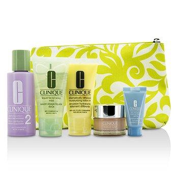 Clinique Travel Set: Facial Soap + Clarifying Lotion #2 + DDML+ + Moisture Surge + Turnaround Concentrate + Bag  5pcs+1bag