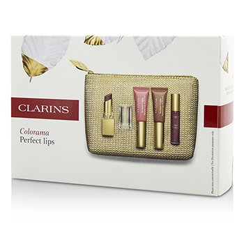 ClarinsColorama Perfect Lips Collection: 1x Rouge Eclat, 2x Lip Perfector, 1x Gloss Prodige, 1x Bag 4pcs+1bag
