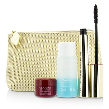 Clarins Perfect Eyes Collection:  1x Wonder Perfect Mascara, 1x Instant Smooth Perfect Touch, 1x Eye M/U Remover, 1x Bag  3pcs+1bag