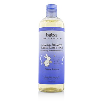 Babo Botanicals3-In-1 Calming Shampoo, Bubble Bath & Wash with Relaxing Lavender Meadowsweet 450ml/15oz